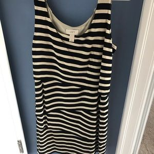 Cream and black dress from the loft